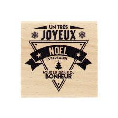 "Tampon Bois ""Noël bonheur""_FD"