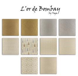 10 feuilles de papier recyclé – 30,5x30,5 – Beige & Or – L'Or de Bombay