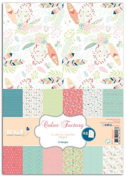 48 feuilles A4 imprimées - Plumes - Color Factory