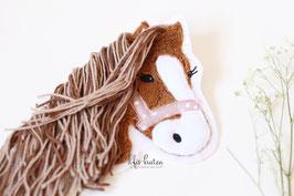 Grosse Pferd Lulu Applikation , mittelbraun