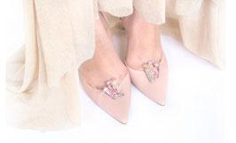 Туфли кожа оттенка пудра с камнями, каблук 10 см. Уже нет в наличии