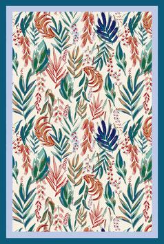TEA TOWEL aquarelle botanique turquoise/creme
