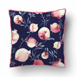 CUSHION with PIPED EDGES lait grenadine rose/bleu