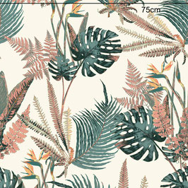 WALLPAPER feuilles sauvages turquoise/crème