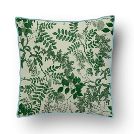CUSHION with PIPED EDGES ombres chinoises vert/crème