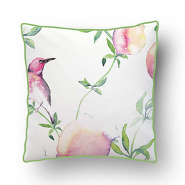 CUSHION with PIPED EDGES pommes d'amour rose/blanc