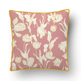 CUSHION with PIPED EDGES voyage à amsterdam rose poudré/moutarde