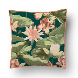 CUSHION with PIPED EDGES nénuphar vert/rose
