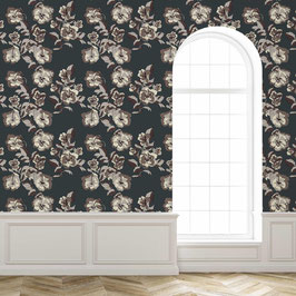 WALLPAPER bouquet de violettes gris/gris