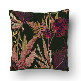 CUSHION with PIPED EDGES feuilles sauvages rouge/vert