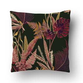 CUSHION feuilles sauvages rouge/vert