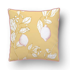 CUSHION with PIPED EDGES citronnade rose/jaune