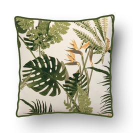 CUSHION with PIPED EDGES feuilles sauvages vert/creme