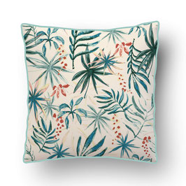 CUSHION with PIPED EDGES aquarelle botanique turquoise/creme