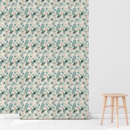 WALLPAPER aquarelle botanique turquoise/crème
