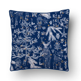 CUSHION with PIPED EDGES noëlnoël  creme/bleu