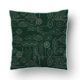 CUSHION with PIPED EDGES impression ikat turquoise/petrol