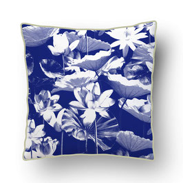 CUSHION with PIPED EDGES nénuphar bleu/pistache