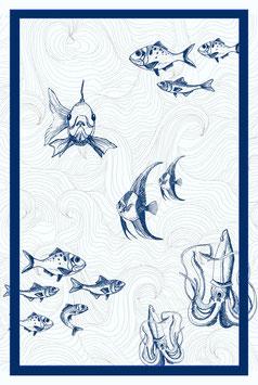 TEA TOWEL plongée sous marine bleu/blanc