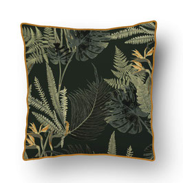 CUSHION with PIPED EDGES feuilles sauvages vert/vert