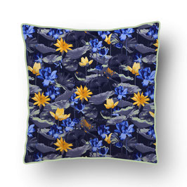 CUSHION with PIPED EDGES nénuphar jaune/bleu