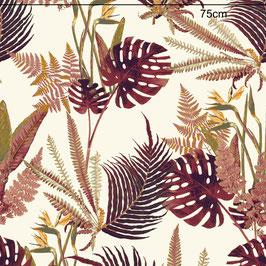 WALLPAPER feuilles sauvages rose/crème