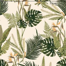 WALLPAPER feuilles sauvages vert/crème