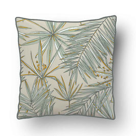 CUSHION with PIPED EDGES papyrus vert sauge/beige