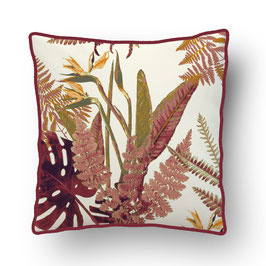 CUSHION with PIPED EDGES feuilles sauvages rouge/creme