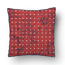 CUSHION with PIPED EDGES  noëlnoël  rouge/bleu