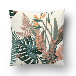 CUSHION feuilles sauvages turquoise/creme