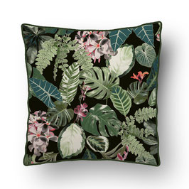 CUSHION with PIPED EDGES forêts vierge vert/gris