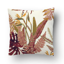 CUSHION feuilles sauvages rouge/creme