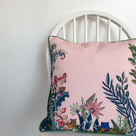CUSHION with PIPED EDGES souvenirs d'acapulco rose