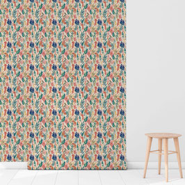 WALLPAPER aquarelle botanique multicolor/beige