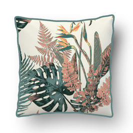 CUSHION with PIPED EDGES feuilles sauvages turquoise/creme