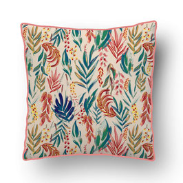 CUSHION with PIPED EDGES aquarelle botanique multicolor/beige