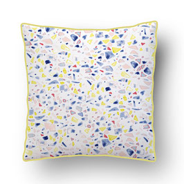 CUSHION with PIPED EDGES terrazzo multicolor/blanc