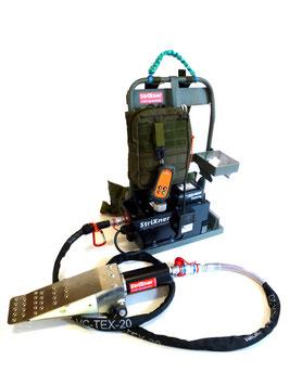 Set fernbedienbare Akkupumpe AP3, kleiner Fällkopf FK10TK, universal Fällkopf FK10T oder starkem Fällkopf FK20T, 2 m Hochdruckschlauch und AliceFrame Tragesystem