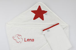 XL Kapuzenhandtuch und Waschhandschuh Set mit Wunschnamen