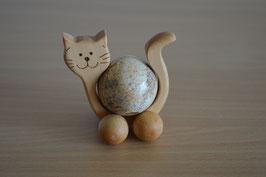 Holz-Rolltier Katze gross mit Edelstein-Kugel Landschafts-Jaspis 4 cm