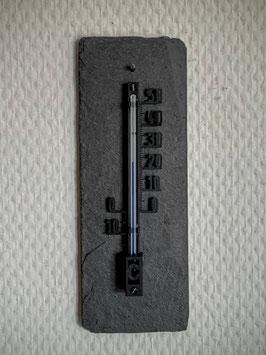 Thermometer auf Schieferplatte, Kunststoff, 10 cm, schwarz - 3