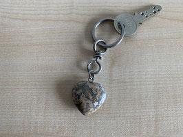 Leopardenfell-Jaspis-Herz-Schlüsselanhänger
