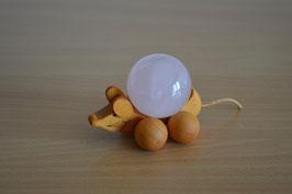 Holz-Rolltier Maus gross mit Edelstein-Kugel Rosenquarz 4 cm