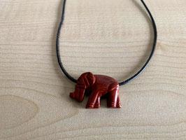 Jaspis rot-Elefant-Anhänger, gebohrt