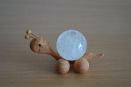 Holz-Rolltier Schnecke gross mit Edelstein-Kugel Bergkristall 4 cm