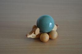 Holz-Rolltier Maus gross mit Edelstein-Kugel Aventurin 4 cm