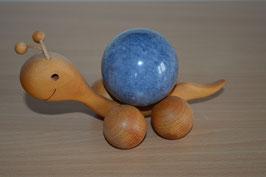 Holz-Rolltier Schnecke XL mit Marmor-Kugel blau 5,5 cm - 2