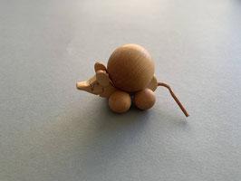 Holz-Rolltier Maus mittel mit Holz-Kugel 3 cm