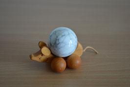 Holz-Rolltier Maus gross mit Edelstein-Kugel Magnesit 4 cm